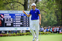 Justin Thomas (USA) sinks his putt on 7 during round 3 of the World Golf Championships, Mexico, Club De Golf Chapultepec, Mexico City, Mexico. 3/4/2017.<br /> Picture: Golffile | Ken Murray<br /> <br /> <br /> All photo usage must carry mandatory copyright credit (&copy; Golffile | Ken Murray)