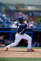Reading Fightin Phils designated hitter Jiandido Tromp (7) follows through on a swing during the first game of a doubleheader against the Portland Sea Dogs on May 15, 2018 at FirstEnergy Stadium in Reading, Pennsylvania.  Portland defeated Reading 8-4.  (Mike Janes/Four Seam Images)