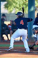 AZL Indians Red Yainer Diaz (4) at bat during an Arizona League game against the AZL Padres 1 on June 23, 2019 at the Cleveland Indians Training Complex in Goodyear, Arizona. AZL Indians Red defeated the AZL Padres 1 3-2. (Zachary Lucy/Four Seam Images)