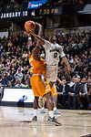 Brandon Childress (0) of the Wake Forest Demon Deacons drives to the basket past Admiral Schofield (5) of the Tennessee Volunteers during second half action at the LJVM Coliseum on December 23, 2017 in Winston-Salem, North Carolina.  The Volunteers defeated the Demon Deacons 79-60.  (Brian Westerholt/Sports On Film)