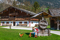 Austria, Tyrol, Kramsach: open-air museum Tyrolean Farmhouses - 'Hoerl' farmhouse and barn | Oesterreich, Tirol, Wanderdorf Kramsach: Freilichtmuseum Tiroler Bauernhoefe - Hoerl Hof und Scheune