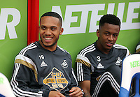 Pictured L-R: Kenji Gorre and Raheem Hanley of Swansea<br />