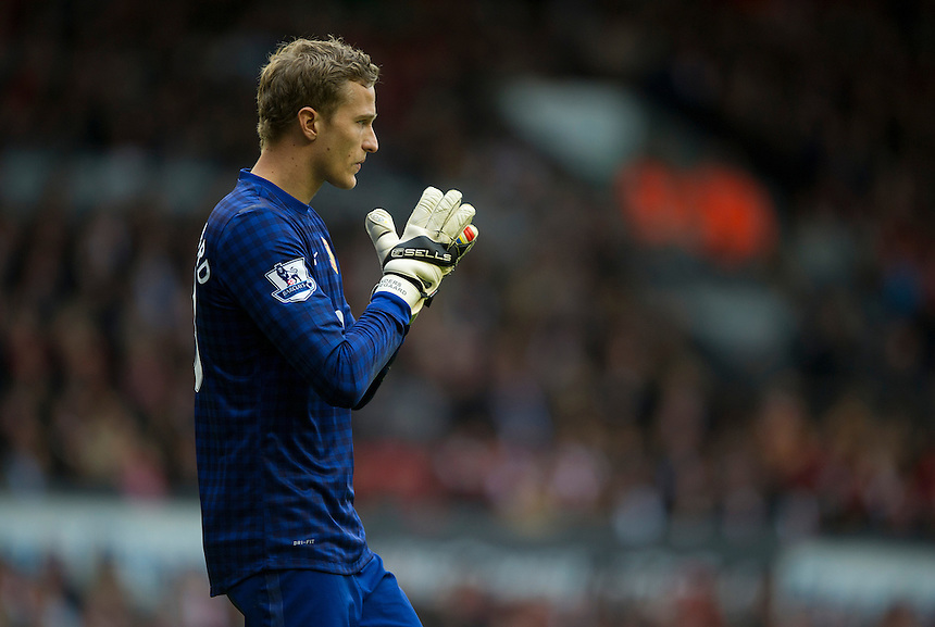 Manchester United's Anders Lindegaard ..Football - Barclays Premiership - Liverpool v Manchester United - Sunday 23rd September 2012 - Anfield - Liverpool..