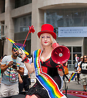 Grand Marshal Cindy Lauper at the 43rd annual Lesbian, Gay, Bisexual and Transgender Pride Parade on Fifth Avenue in New York on Sunday, June 24, 2012. The parade took place on the one year anniversary of the legalization of gay marriage in New York.  (© Richard B. Levine)