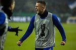 19.12.2017, Veltins-Arena , Gelsenkirchen, GER, DFB Pokal Achtelfinale, FC Schalke 04 vs 1. FC K&ouml;ln<br /> , <br /> <br /> im Bild | pictures shows:<br /> Fabian Reese (FC Schalke 04 #16), der sich aufw&auml;rmt,   jubelt &uuml;ber den Treffer zum 1:0, <br /> <br /> Foto &copy; nordphoto / Rauch