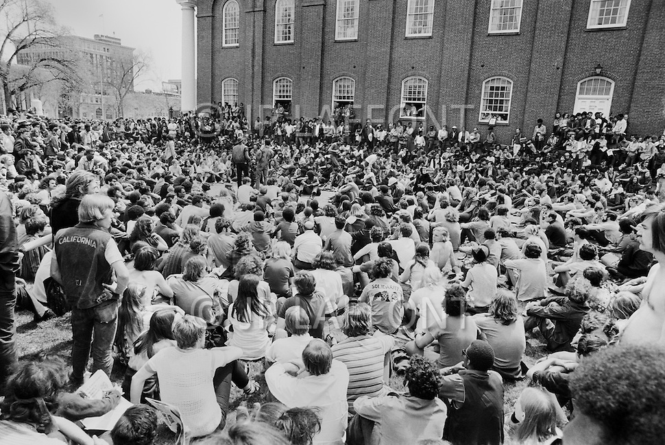 New Haven, CT. May 2nd 1970 Yale University.<br /> Students at Yale University go on strike to support the Black Panther Party while several party leaders are on trial. The May Day weekend demonstration protested the perceived unfairness in the trial of Black Panther Chairman Bobby Seale and other party members and drew 15,000 to 20,000 protesters from around the US, including the Yale students. Clashes with police in preceding days led to the relatively peaceful demonstration on the weekend of May 1, 1970.
