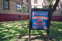 The Queensbridge South Houses in Queens in New York on Thursday, July 16, 2015. New York will be providing free broadband access to five housing projects in the city via a pilot program ConnectHome. Besides the Queensbridge North and South projects, Mott Haven and Red Hook East and West will be part of the program. Queensbridge is the largest housing project in the country and the program will provide access to 16,000 residents out of the 400,000 living in NYCHA projects.  (© Richard B. Levine)