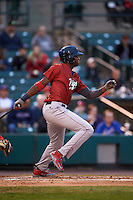 Lehigh Valley IronPigs designated hitter Domonic Brown (12) at bat during a game against the Rochester Red Wings on May 15, 2015 at Frontier Field in Rochester, New York.  Rochester defeated Lehigh Valley 5-4.  (Mike Janes/Four Seam Images)