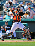 13 March 2012: Miami Marlins catcher Kyle Skipworth in action during a Spring Training game against the Atlanta Braves at Roger Dean Stadium in Jupiter, Florida. The two teams battled to a 2-2 tie playing 10 innings of Grapefruit League action. Mandatory Credit: Ed Wolfstein Photo