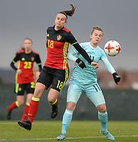20171125 - TUBIZE , BELGIUM : Belgian Laura De Neve (left) pictured in a duel with Russian Marina Kiskonen during the friendly female soccer game between the Belgian Red Flames and Russia , Saturday 25 th November 2017 at the Belgian FA Euro 2000 Center in Tubize , Belgium. PHOTO SPORTPIX.BE | DAVID CATRY