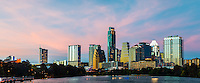 This is another great image of the Austin skyline with a colorful sky after the sunset along Lady Bird Lake.  This image is of the downtown area where you can see many of the iconic images like the Frost building, the Austonian and the W Hotel with many others in this urban landscape.  Austin is a modern city that is predominately a town with lot of thing going on music, University of Texas, the state capital and a large hig tech industry. There is a certain lifestyle in this city with lots of restuarants and nightlife. We used two images to capture the sky and one for the city so the buildings were slightly lit up to give this image more pop.