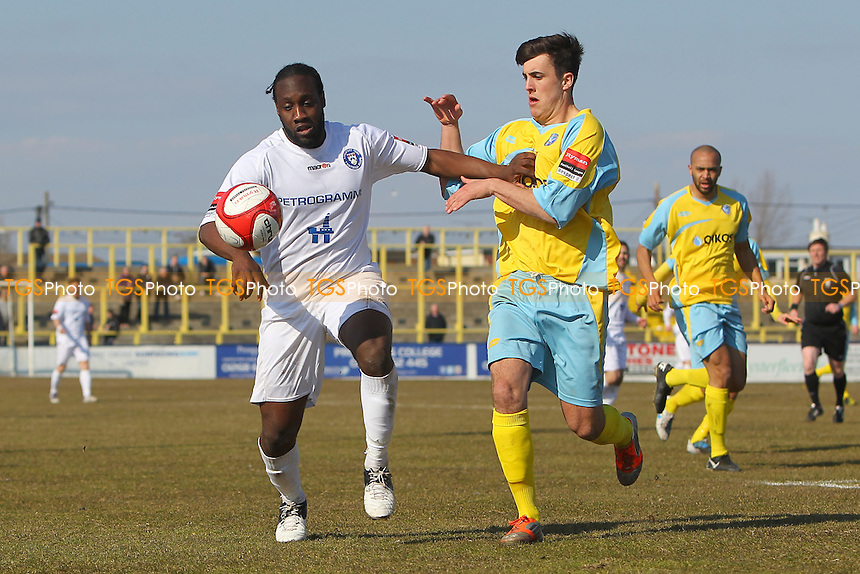 Joe Benjamin of  Lowestoft tangles with Ellis Sands of Canvey - Canvey Island vs Lowestoft Town - Ryman League Premier Division Football at The Prospects Stadium - 06/04/13 - MANDATORY CREDIT: Gavin Ellis/TGSPHOTO - Self billing applies where appropriate - 0845 094 6026 - contact@tgsphoto.co.uk - NO UNPAID USE.