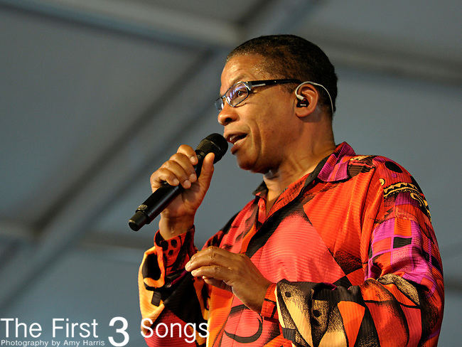 Herbie Hancock and His Band perform during the New Orleans Jazz & Heritage Festival in New Orleans, LA on May 5, 2012.