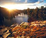 USA, California, Sierra Nevada Mountains. Sunset over Skelton Lake.