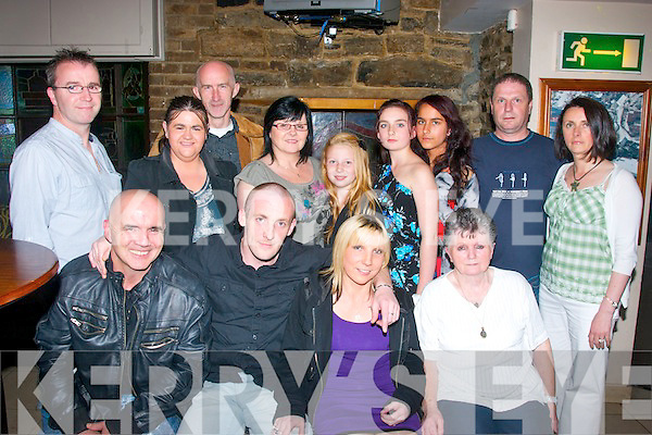 6536-6539.---------.Diamonds.--------.Karl Mullen,Monaghan,and Phidelma O'Brien,Tralee (seated centre) celebrated their engagement in kirby's Brogue Inn last Saturday night in the company of family and friend's(seated)L-R Gerard O'Brien,Karl Mullen,Phidelma & Chrissy O'Brien(back)L-R Joe O'Brien,Geraldine fox,Joe Hughes,Ann Bustard,.Jessica O'Brien,Shannon O'Donoghue,Alzbeta Mrocova, Gary Bustard and Eleanor O'Brien.