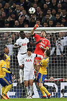 Gianluigi Buffon of Juventus punches clear during Tottenham Hotspur vs Juventus, UEFA Champions League Football at Wembley Stadium on 7th March 2018