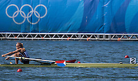 Rio de Janeiro. BRAZIL.   Women's Single Sculls Final, USA W1X Gevvie STONE, winning the Silver, at the 2016 Olympic Rowing Regatta. Lagoa Stadium, Copacabana,  &ldquo;Olympic Summer Games&rdquo;<br />