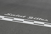 June 11th 2017, Circuit Gilles Villeneuve, Montreal Quebec, Canada; Formula One Grand Prix, Race Day. Salut Gilles signage on the track