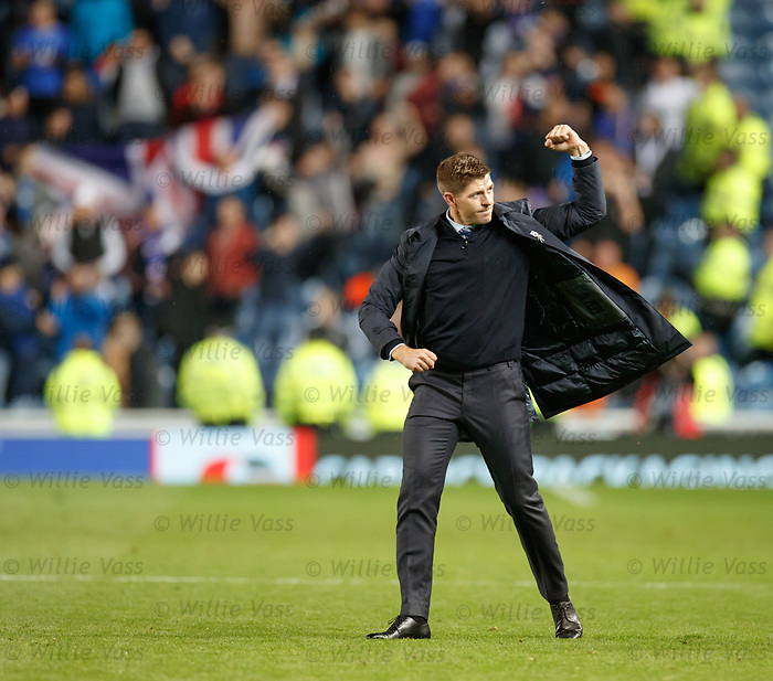 29.08.2019 Rangers v Legia Warsaw: Steven Gerrard punches the air
