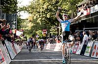race winner Krist Neilands (LAT/Israel Cycling Academy) crossing the finish line<br /> <br /> 60th Grand Prix de Wallonie 2019<br /> 1 day race from Blegny to Citadelle de Namur (BEL / 206km)<br /> <br /> ©kramon