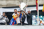 Nacho and Carvajal with the cup during the celebration of the victory of the Real Madrid Champions League at Plaza de Cibeles in Madrid. May 28. 2016. (ALTERPHOTOS/Borja B.Hojas)