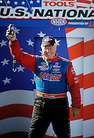 Sept. 6, 2010; Clermont, IN, USA; NHRA top fuel dragster driver Bruce Litton during driver introductions prior to the U.S. Nationals at O'Reilly Raceway Park at Indianapolis. Mandatory Credit: Mark J. Rebilas-