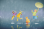 Illustration of children enjoying in rain