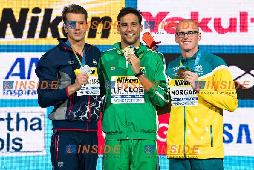 LE CLOS Chad RSA Gold Medal<br /> SHIELDS Tom USA Silver Medal<br /> MORGAN David AUS Bronze Medal<br /> Men's 50m Butterfly<br /> 13th Fina World Swimming Championships 25m <br /> Windsor  Dec. 10th, 2016 - Day05 Final<br /> WFCU Centre - Windsor Ontario Canada CAN <br /> 20161210 WFCU Centre - Windsor Ontario Canada CAN <br /> Photo &copy; Giorgio Scala/Deepbluemedia/Insidefoto