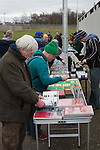 'Groundhoppers' browsing souvenirs before watching Edinburgh University taking on Selkirk in a Scottish Lowland League match at Peffermill, Edinburgh in a game the hosts won 3-2. The match was one of six attended by members of GroundhopUK over the weekend to accommodate groundhoppers, fans who attempt to visit as many football venues as possible. Around 100 fans in two coaches from England participated in the 2016 Lowland League Groundhop and they were joined by other individuals from across the UK which helped boost crowds at the six featured matches.
