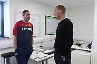 Swansea City's Head Coach Paul Clement (left) with Gerhard Tremmel