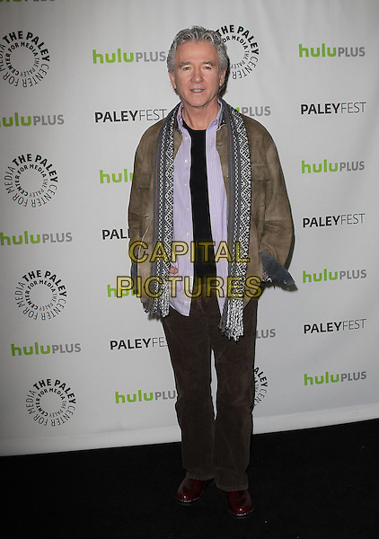 Patrick Duffy.Dallas at PaleyFest 2013 Held At The Saban Theatre, Beverly Hills, California, USA..March 10th, 2013.full length jacket trousers hands in pockets purple shirt black top brown grey gray jacket pattern scarf .CAP/ADM/KB.©Kevan Brooks/AdMedia/Capital Pictures.