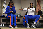 KANSAS CITY, MO - DECEMBER 16: Rhamat Alhassan (1) and Darrielle King (2) of the University of Florida joke in the locker room prior to the Division I Women's Volleyball Championship held at Sprint Center on December 16, 2017 in Kansas City, Missouri. (Photo by Jamie Schwaberow/NCAA Photos via Getty Images)