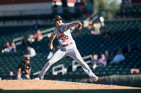 Surprise Saguaros relief pitcher Conner Greene (90), of the St. Louis Cardinals organization, delivers a pitch during an Arizona Fall League game against the Mesa Solar Sox at Sloan Park on November 1, 2018 in Mesa, Arizona. Surprise defeated Mesa 5-4 . (Zachary Lucy/Four Seam Images)