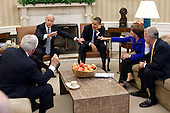 "Nov. 1, 2011.""Usually the best moments at meetings are before and after the participants actually sit down. In this case, though, there was an interesting juxtaposition of gestures as the President and Vice President met with the House Democratic Leadership in the Oval Office."" .Mandatory Credit: Pete Souza - White House via CNP"