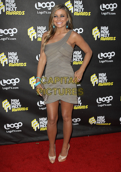 CARMEN ELECTRA.Logo's NewNowNext Awards 2010 held at The Edison, Los Angeles, CA, USA..June 8th, 2010.full length beige grey gray one shoulder blue turquoise bracelets dress silver clutch bag peep toe shoes.CAP/ADM/KB.©Kevan Brooks/AdMedia/Capital Pictures.