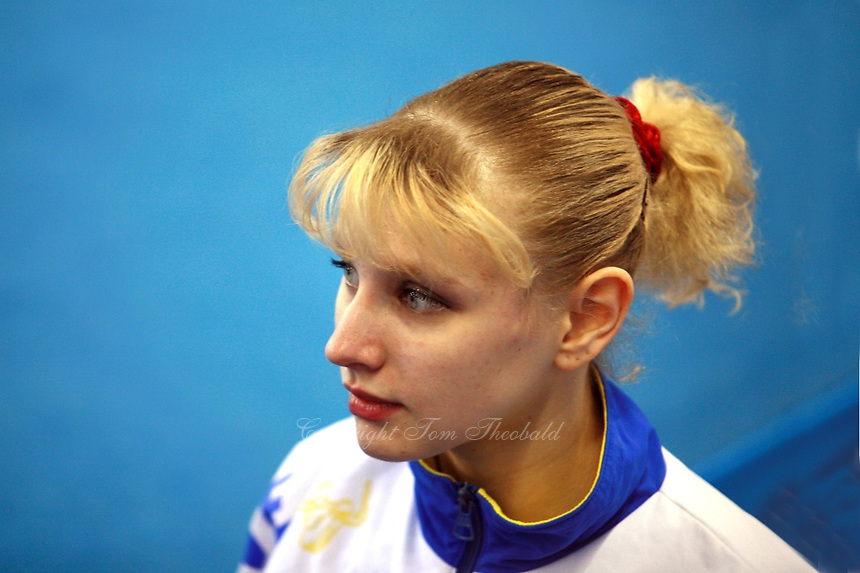Alina Kozich of Ukraine portait during vault  in women's senio qualifying  competition at 2006 European Championships Artistic Gymnastics at Volos, Greece on April 27, 2006.  (Photo by Tom Theobald)