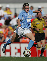 OCT 2, 2005: College Park, MD, USA:  UNC Tarheel forward #20 Heather O'Reilly shoots the ball while playing the Maryland Terrapins at Ludwig Field.  UNC won, 4-0. Mandatory Credit: Photo By Brad Smith (c) Copyright 2005 Brad Smith