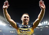 PICTURE BY ALEX WHITEHEAD/SWPIX.COM - Rugby League - Super League Grand Final 2012 - Warrington Wolves vs Leeds Rhinos - Old Trafford, Manchester, England - 06/10/12 - Leeds' Kevin Sinfield celebrates the victory.