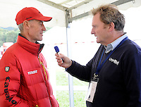 Blair Atholl, Scotland, UK. 11th September, 2015. Longines  FEI European Eventing Championships 2015, Blair Castle. Rupert Lloyd interviewing Hans  (GER Chef d'Equipe)  © Julie Priestley