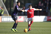 Fleetwood Town's Ched Evans in action with Luton Town's James Justin <br /> <br /> Photographer Mick Walker/CameraSport<br /> <br /> The EFL Sky Bet League One - Fleetwood Town v Luton Town - Saturday 16th February 2019 - Highbury Stadium - Fleetwood<br /> <br /> World Copyright © 2019 CameraSport. All rights reserved. 43 Linden Ave. Countesthorpe. Leicester. England. LE8 5PG - Tel: +44 (0) 116 277 4147 - admin@camerasport.com - www.camerasport.com