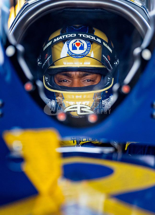 May 19, 2018; Topeka, KS, USA; NHRA top fuel driver Antron Brown during qualifying for the Heartland Nationals at Heartland Motorsports Park. Mandatory Credit: Mark J. Rebilas-USA TODAY Sports