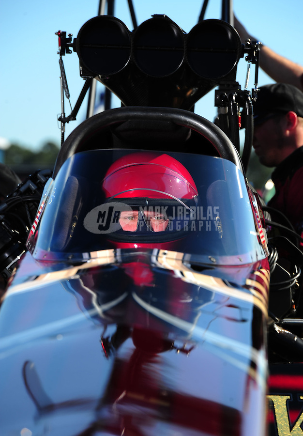 Mar. 12, 2011; Gainesville, FL, USA; NHRA top fuel dragster driver Del Worsham during qualifying for the Gatornationals at Gainesville Raceway. Mandatory Credit: Mark J. Rebilas-.