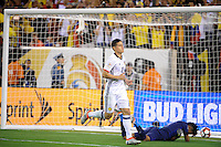 East Rutherford, NJ - Friday June 17, 2016: James Rodriguez, Pedro Gallese during a Copa America Centenario quarterfinal match between Peru (PER) vs Colombia (COL) at MetLife Stadium.