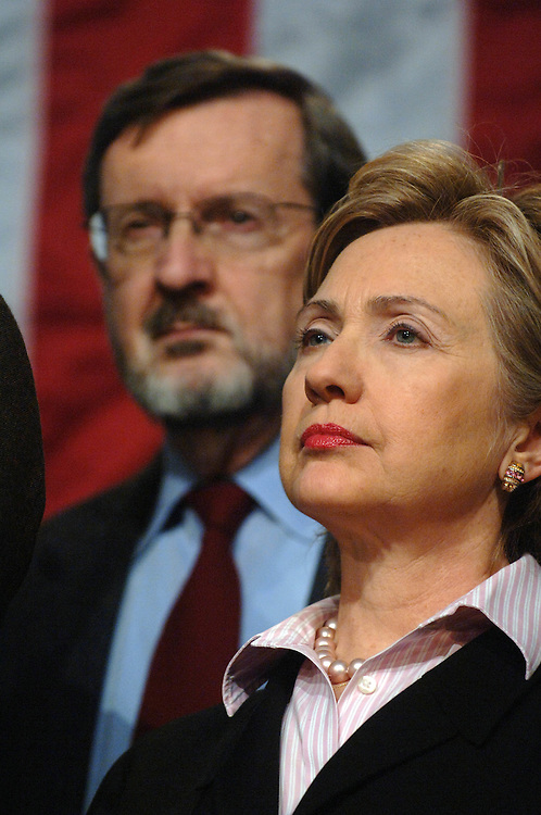 """01/18/06.DEMOCRAT RALLY TO """"RESTORE HONESTY, INTEGRITY AND OPENNESS TO GOVERNMENT""""--Sen. Hillary Rodham Clinton, D-N.Y., with other House and Senate Democrats at a rally at the Library of Congress decrying the """"corrupt"""" Republican Congressional leadership. Behind her is House Appropriations ranking Democrat David R. Obey, D-Wis..CONGRESSIONAL QUARTERLY PHOTO BY SCOTT J. FERRELL"""