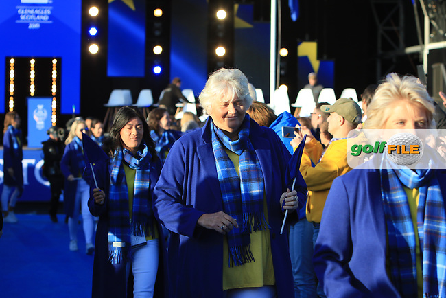 Laura Davies (EUR) during the Opening Ceremony of the Solheim Cup 2019 at Gleneagles Golf CLub, Auchterarder, Perthshire, Scotland. 12/09/2019.<br /> Picture Thos Caffrey / Golffile.ie<br /> <br /> All photo usage must carry mandatory copyright credit (© Golffile | Thos Caffrey)