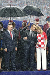 15/07/2018, Luzhniki stadium, Moscow, Russia; FIFA World Cup Russia 2018, Final Football Match France versus Croatia, France is the new World Champion. France won the World Cup for the second time 4???2 against Croatia. Vladimir Putin, Russian President, Emmanuel Macron, French President, Croatian President Kolinda Grabar Kitarovic. Photographer Pierre TEYSSOT