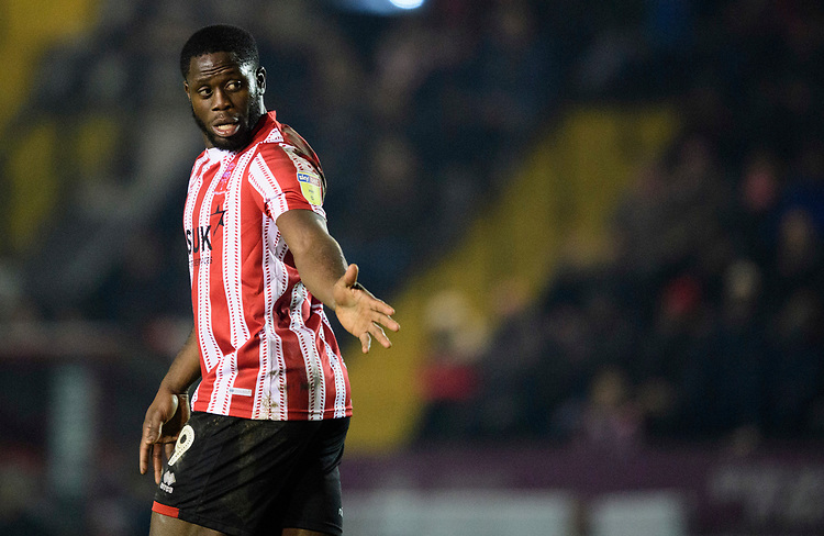 Lincoln City's John Akinde<br /> <br /> Photographer Chris Vaughan/CameraSport<br /> <br /> The EFL Sky Bet League Two - Lincoln City v Exeter City - Tuesday 26th February 2019 - Sincil Bank - Lincoln<br /> <br /> World Copyright © 2019 CameraSport. All rights reserved. 43 Linden Ave. Countesthorpe. Leicester. England. LE8 5PG - Tel: +44 (0) 116 277 4147 - admin@camerasport.com - www.camerasport.com
