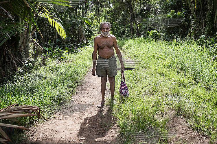 Swindu Sangi, a resident of Koptui village, that is affected by illegal logging. He says the: 'Logging company destroyed my gardens while I was sick. When I got better and went to see what happened, it was all gone.'