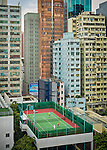 Squeezing It In! Tennis Court Amongst High-Rise Buildings In Yau Ma Tei, Hong Kong.