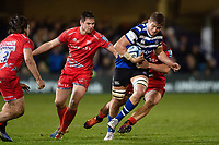 Tom Ellis of Bath Rugby takes on the Sale Sharks defence. Gallagher Premiership match, between Bath Rugby and Sale Sharks on December 2, 2018 at the Recreation Ground in Bath, England. Photo by: Patrick Khachfe / Onside Images